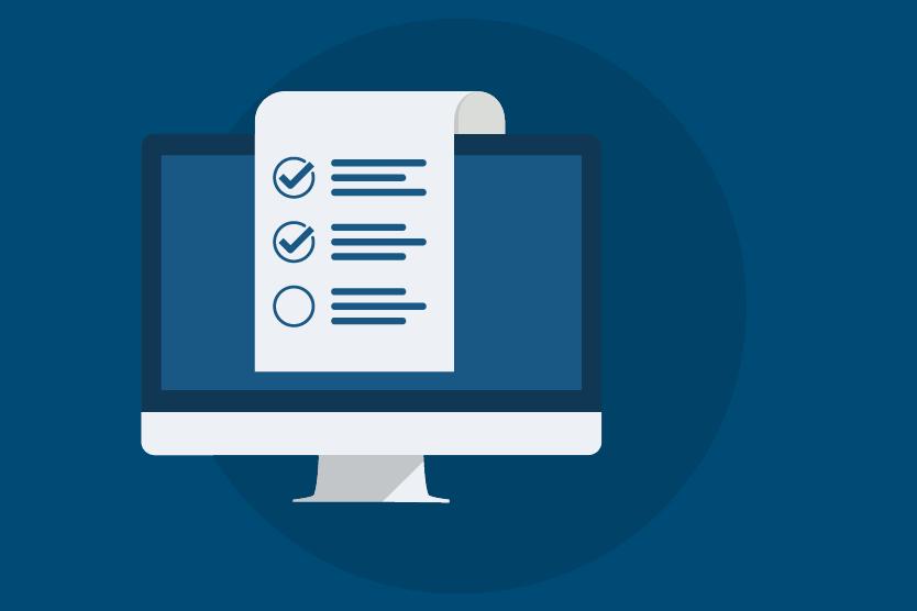 Icon eines Monitors mit einer Checkliste