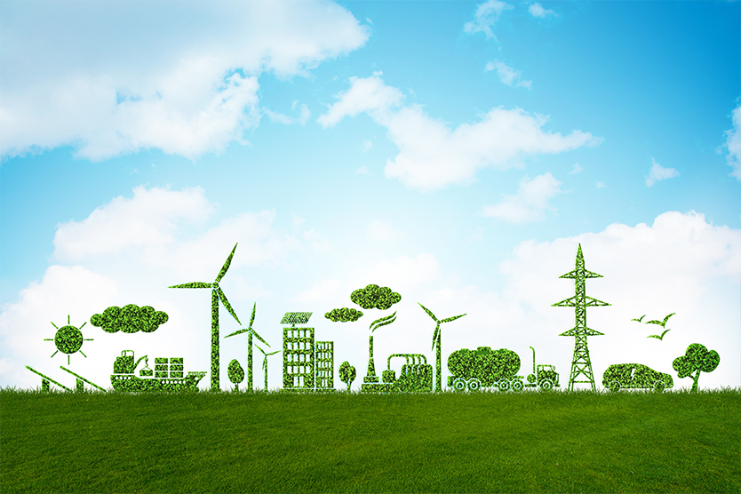 3d-Illustration - Umwelt und Ökologie in grünem Konzept