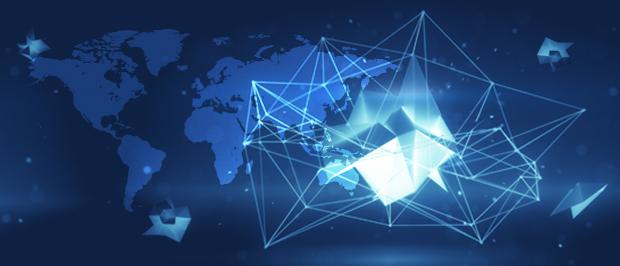 Polygon-Netzwerk mit Weltkarte im Hintergrund